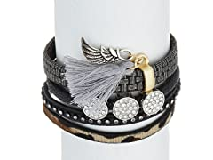 Multistrand Leather Strap Charm Bracelet