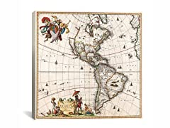 Visscher Map of Americas ca 1658 18x18