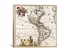Visscher Map of Americas ca 1658 18x18