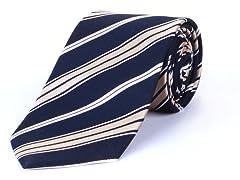 Silk Tie, Navy Gold & White