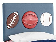 Three Sport Headboard Denim