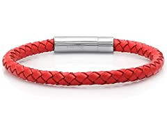 Braided Leather Bracelet, Red