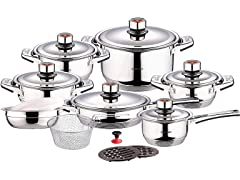 Swiss Inox 18-Piece Stainless Steel Cookware Set