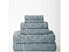 6 piece Jacquard/Solid Towel Set-Medallion Swirl