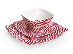 Red Wildlife 12-Piece Dinnerware Set