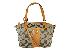 Coach Signature Stripe Tote,Khaki/Yellow