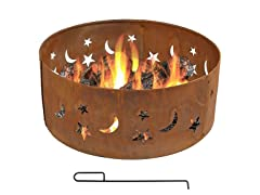 Sunnydaze 30-Inch Rustic Stars and Moons Fire Pit Ring
