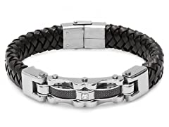 Braided Leather Bracelet w/ Accents