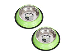 2 Pack Stripe Non-Skid Pet Bowls - Pick Color