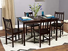5-Piece Bamboo Dining Set - Espresso