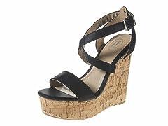 Carrini Strappy Wedge Sandal, Black