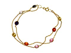 18 kt Gold Plated SS Multi Color Simulated Diamond By The Yard Bracelet