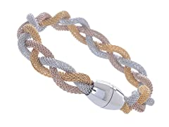 14K Gold/Rose Gold Plated Stainless Steel Braided Mesh Bracelet
