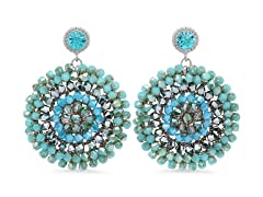 MaxColor Teal and Gold Beaded Round Statement Earrings