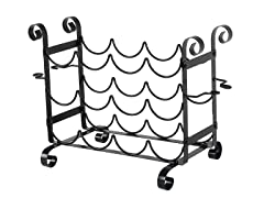 Solid Metal Wine and Glass Counter Rack