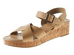 Carrini Criss-Cross Wedge Sandal, Natural