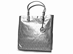 Jet Set North South Tote, Silver Patent