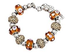 SS Murano Bracelet w/ Brown-Mix Charm