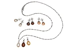 Interchangeable Multi-Color Pearl Pendant & Earring Set
