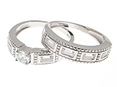 18k White Gold Hammered Engagement Set