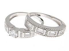 18k White Gold Hammered Engagement Set