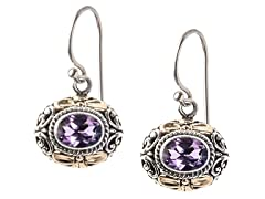 18k Gold Accent Amethyst Earrings