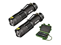 ARMY GEAR 2-Pack 500 Lumen Tactical Military Flashlight