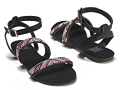 Gemma Beaded Sandals, Black