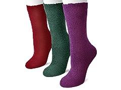 3 Pair Pack Crew Aloe Socks, Red, Purple & Green