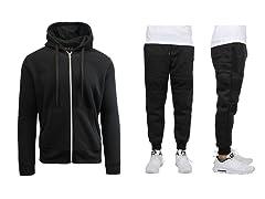 Mens Slim-Fit Fleece Moto Joggers & Zip-Up Hoodie