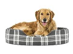 Furhaven Snuggle Faux Sheepskin & Plaid Oval Pet Bed