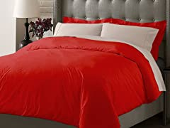 Hotel Duvet Cover Set-Burgundy-3 Sizes