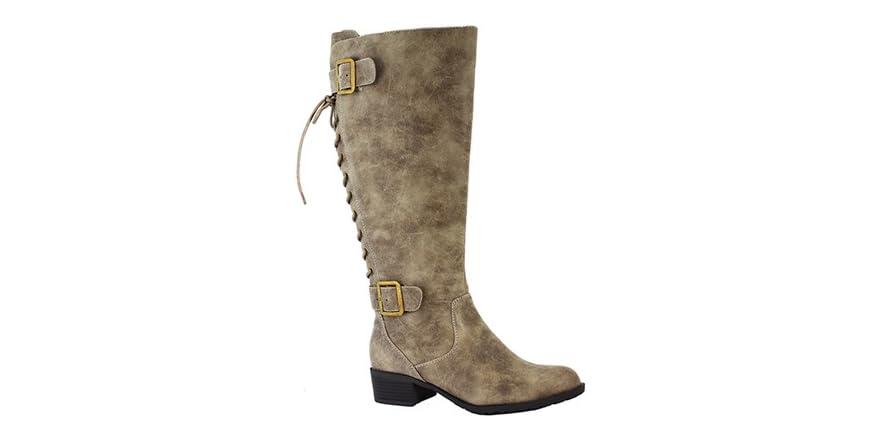 Stockton back lace up riding boot vintage stone fashion