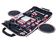 Pink Tool Kit Household Car & Office in Roll Up Bag 86 Piece