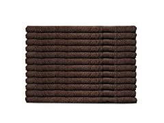 MicroCotton 12pc Washcloth Set-Chocolate