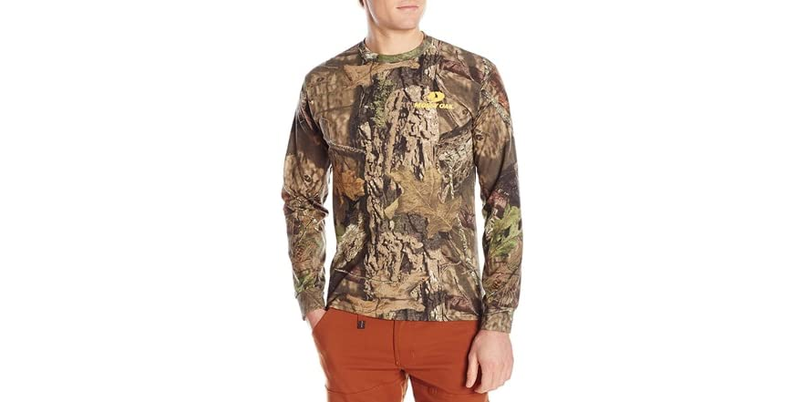 Gildan mossy oak mens long sleeve camo tee for Gildan camouflage t shirts