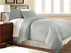Micro Flannel® Duvet Cover Set-Grey- 3 Sizes