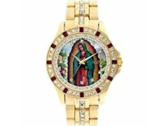 Elgin Men's Watch Gold Bracelet, Virgin Mary Guadalupe Face
