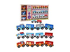 Kidzzy Toys Wooden Train Set with Box and Cover