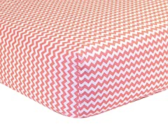 Chevron Fitted Sheet - Coral & White