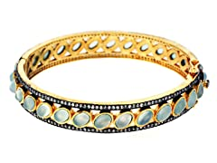 18K Gold-Plated SS Sea Green Chalcedony Semi-Precious Gemstone Bangle