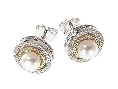 Silver & 14k Gold Pearl Earrings