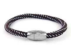 Braided Cable Wire Bracelet, Brown/Grey