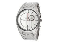 Men's Light Silver Dial Mesh Stainless Steel