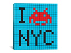 I Invade NYC Tile Art Blue 18x18 Thin