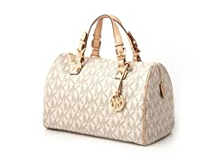 Michael Kors Logo Grayson Large Satchel, White