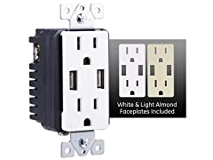 GE In-Wall 2-Outlet USB Receptacle
