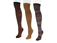 Microfiber 3-Pair Brown Pack OTK Socks
