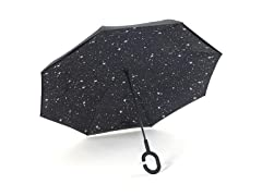 Reverse Opening Umbrella, Black Stars