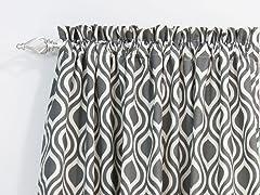 Nichole Rod Pocket Curtain Panel - Grey - 3 Lengths